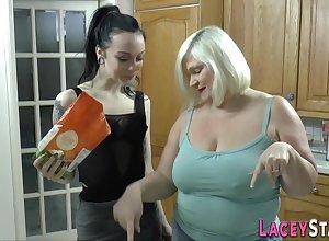 Stockinged granny kisses goth prostitute