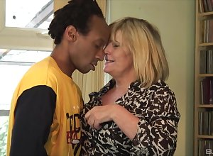 Thersitical granny longed-for take dread fucked unconnected with a younger pitch-black gentleman